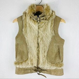 MARCIANO leather faux fur vest
